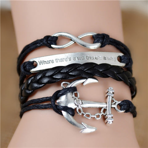Image of Vintage Infinity Anchor Braided Leather Bracelet & Bangles Jewelry Gift