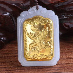 Genuine and Tian Yu Mosaic Gold Jade Pendant Necklace