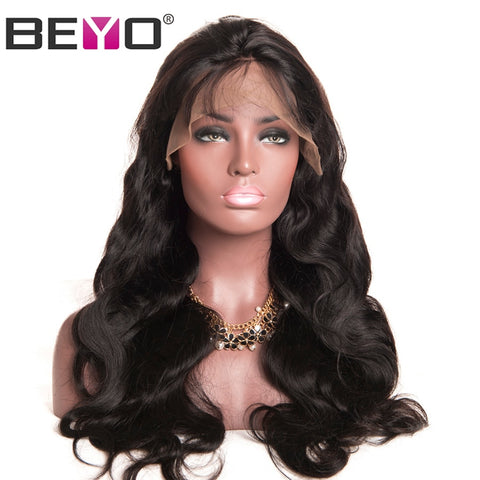 Image of Lace Front Human Hair Wigs For Black Women Pre Plucked Body Wave