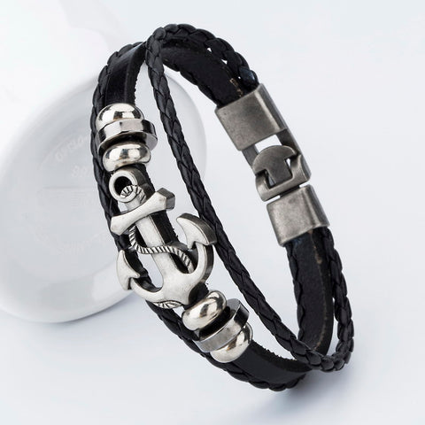 Image of Handmade Leather Bracelets Hooks Men's Bracelets