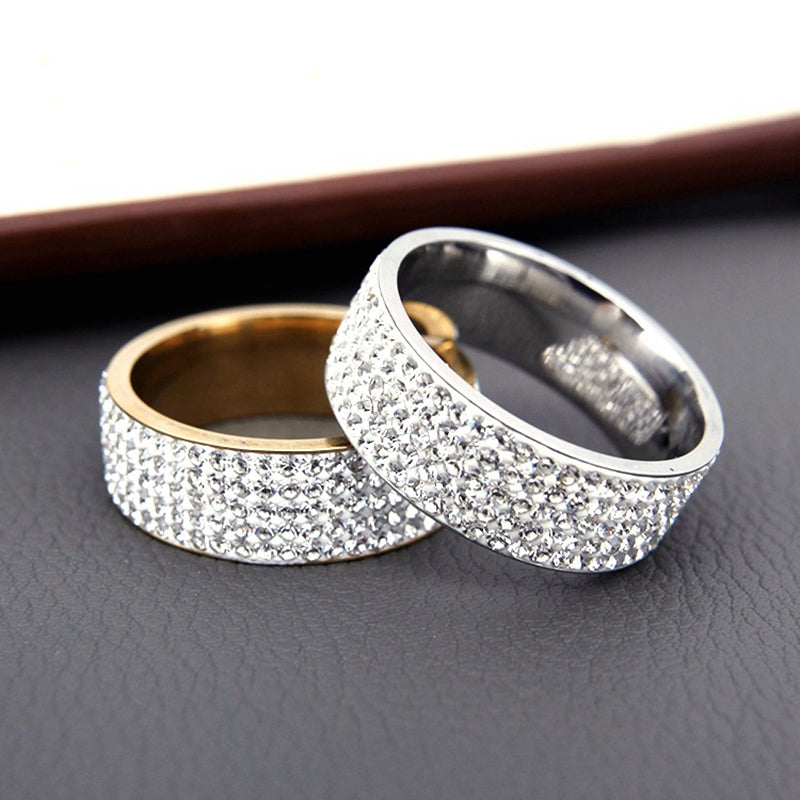 Gorgeous Stainless Steel White 5 Rows Lines Cz Cubic Zirconia Wedding Ring