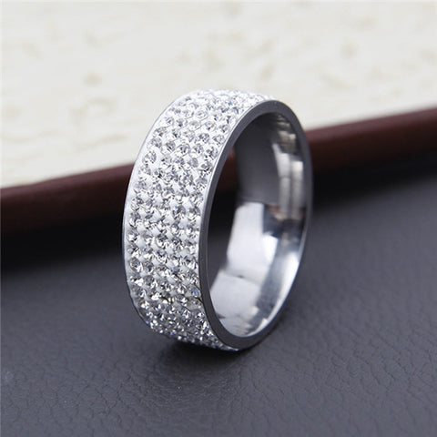 Image of Gorgeous Stainless Steel White 5 Rows Lines Cz Cubic Zirconia Wedding Ring