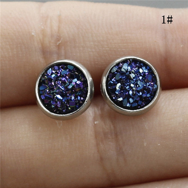 1Pair 8MM Stainless Steel Shiny Austrian Crystal Round Studs Earrings