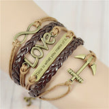 Vintage Infinity Anchor Braided Leather Bracelet & Bangles Jewelry Gift