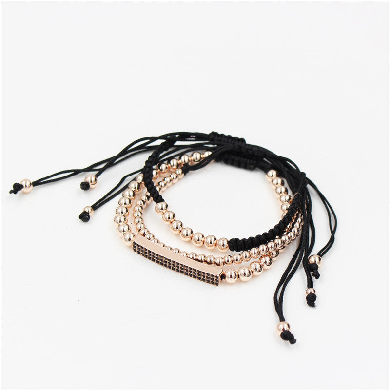 Pave Setting Black CZ Bar Bracelet With 5MM Copper Bead Braiding Macrame Bracelet