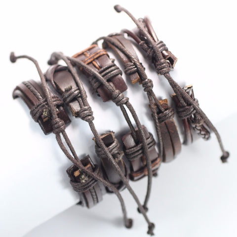 Image of 5pcs/set Handmade Trendy Vintage Punk Wood Bead Leather Bracelet