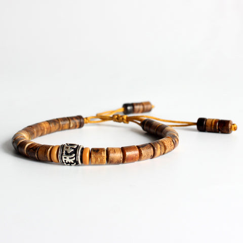 Image of Natural Sandalwood & White Copper Mala Bead Bracelet