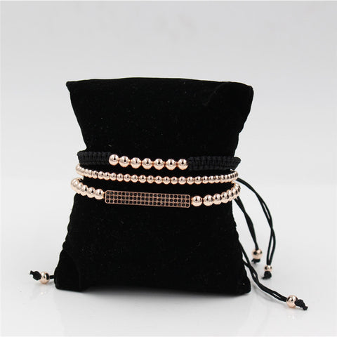 Image of Pave Setting Black CZ Bar Bracelet With 5MM Copper Bead Braiding Macrame Bracelet