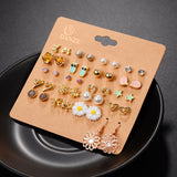20 Pairs Punk Stud Elegant Mixed Crystal Flower Bow Metal Ball Earnings