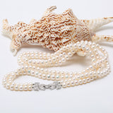 7-7.5MM Double-strand White Round Freshwater Pearl Necklace