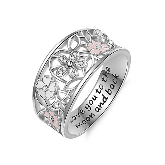 Enamel Sakura Love You to The Moon and Back Wedding Ring