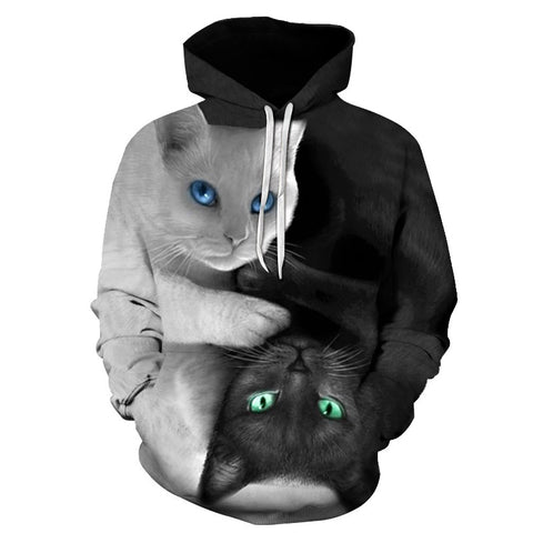 Image of 3D Two Cat Print Hoody Casual Hipster Hip Hop Pullovers