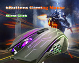 Silent Click USB Wired Gaming Mouse 6 Buttons 3200DPI Mute Optical Computer Game Mouse Mice for PC Laptop Notebook Gamer