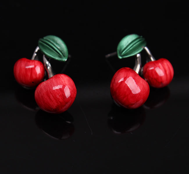 Cute Retro Cherry Necklace Set Best Gift
