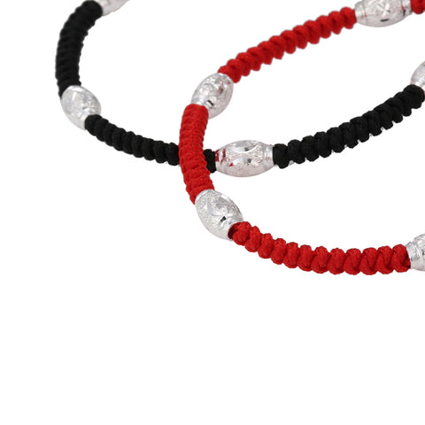 Image of Lucky Red Rope S925 Sterling Silver Bead Shamballa Bracelet
