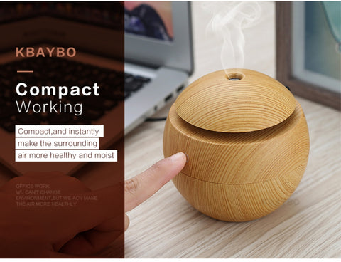Image of Mini Wood Gra Air Humidifiers Aromatherapy Ultrasonic Humidifier Diffuser USB Color Changing LED
