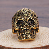 Rock Roll Neo Gothic Carved Pattern Skull Biker Rings