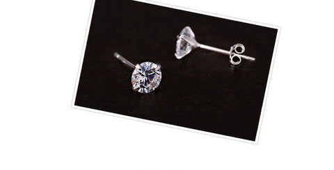 Image of Zircon 925 Sterling Silver Ladies Stud Earrings
