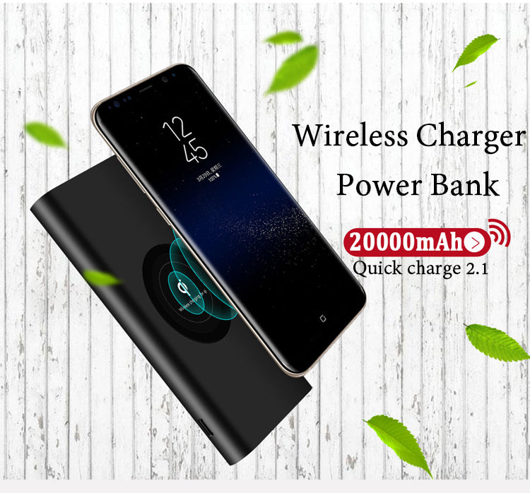 Portable Wireless Charger Powerbank 20000mah for iPhone 8 8Plus X