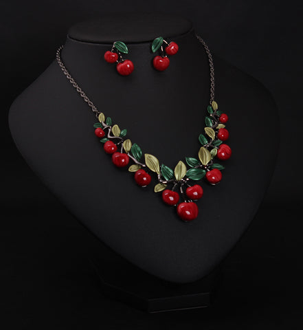 Image of Cute Retro Cherry Necklace Set Best Gift