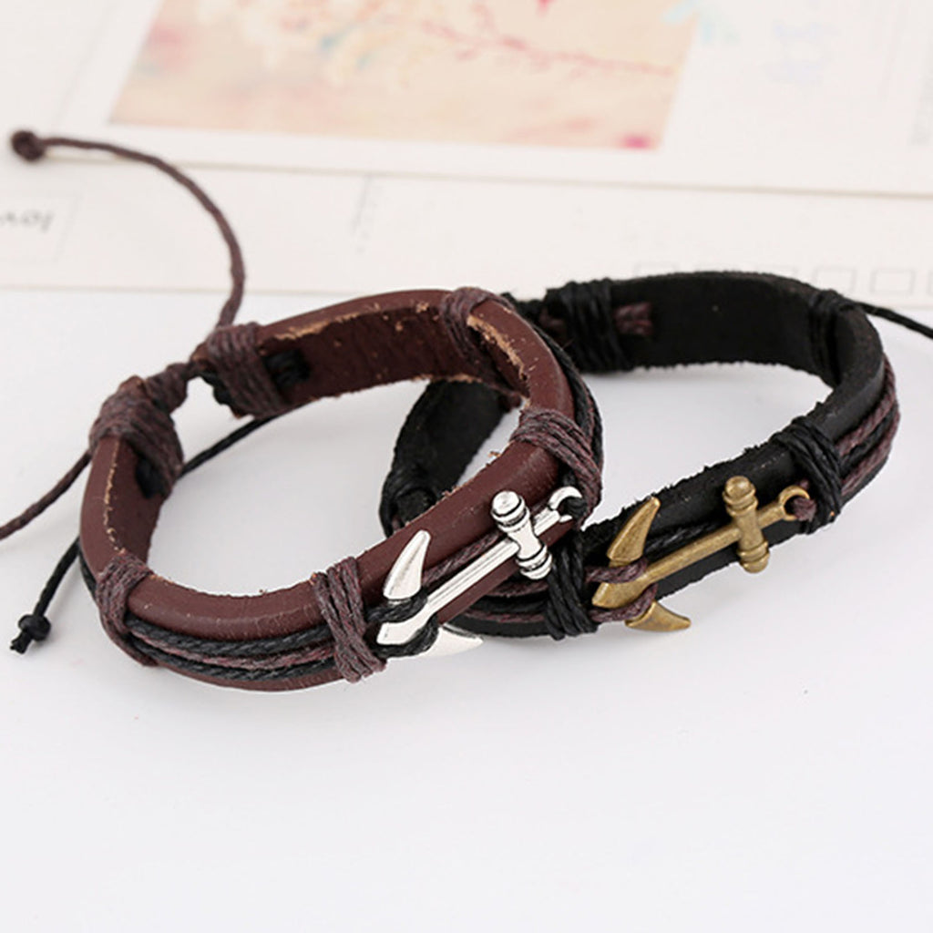 Anchor Alloy Leather Charm Bracelets & Bangles