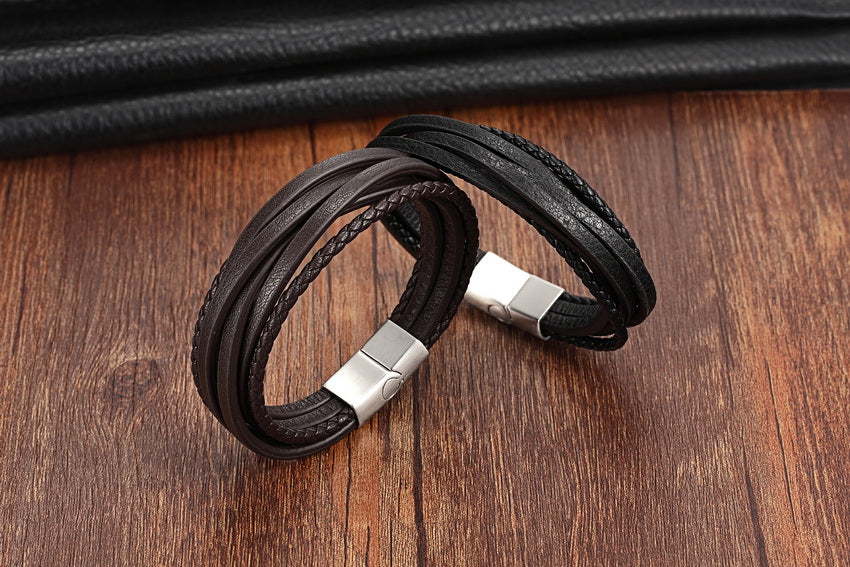 Stainless Steel Chain Genuine Leather Bracelet