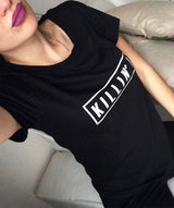 Killin It Harajuku Short Sleeve t-shirts Casual Night Club Harajuku Clothing