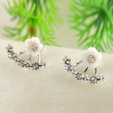 Leave Daisy Flower Crystal Stud Earrings
