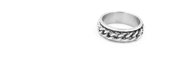 Limited Edition Rotation Chain Texture 316L Titanium Steel Rings