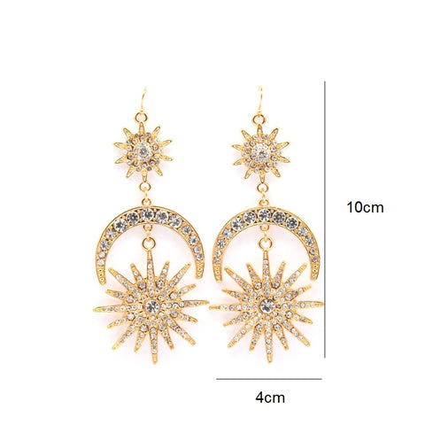 Image of Moon and Star Sun Drop Earrings