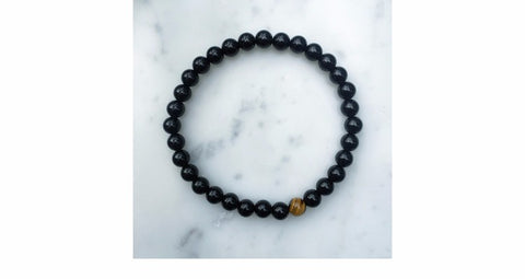 Image of Hematite Beaded Natural Black Stone Yoga Bracelet