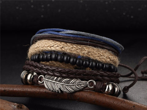 Image of Anchors Leather Bracelets Bangles Wristband Jewelry