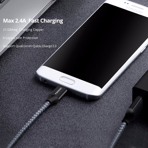 Image of Micro USB Cable Quick Charger 2128AWG QC3.0 2.4A Charging Data Cord