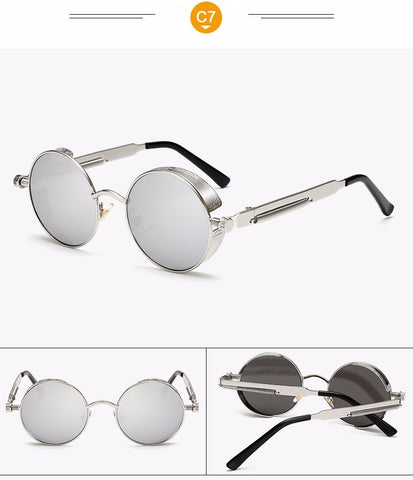 Image of Gothic Steampunk Vintage Metal Coating Mirror UV400 Sunglasses