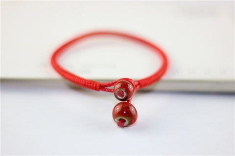Image of Lucky Bead Red String Ceramic bracelets Handmade Lovers Accessories