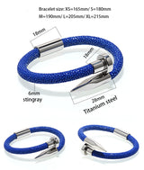 Stingray Leather Rope Chain Titanium Stainless Steel Nail Best Friend Bracelet