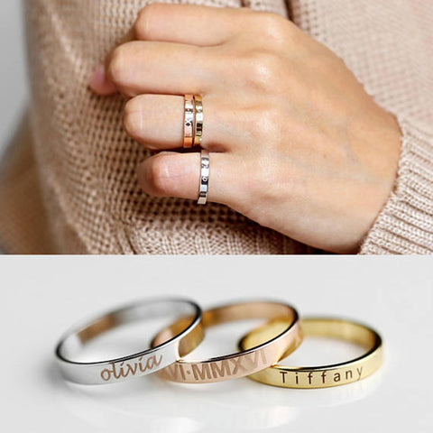 Image of Stacking Ring Engraved Ring Personalized Ring For Women