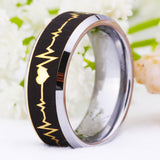 Famous Brand Golden Bevel Forever Love Heartbeat Wedding Tungsten Ring