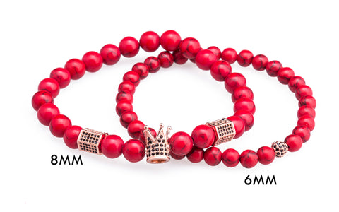 Image of 2Pcs Red Natural Stone Beads Micro CZ Woven Bracelet