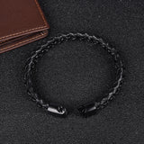 Stainless Steel Braid Leather Bracelet Wristband