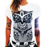 Summer Harajuku Owl Print O-Neck Short Sleeve Women Tops Casual Tee Shirt