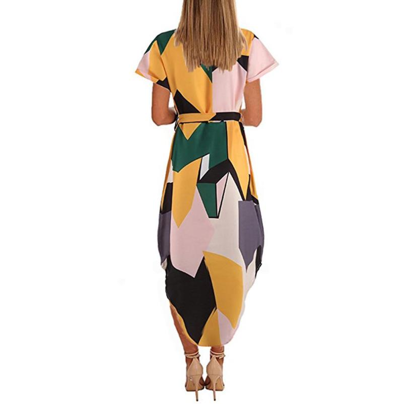 Summer Slim Geometric Printing Asymmetrical Dress
