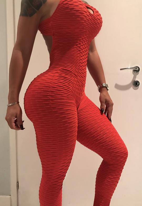 Textured Hollow Bodysuit Fitness