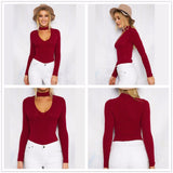 Long Sleeve V Neck Skinny Cotton Bodysuit