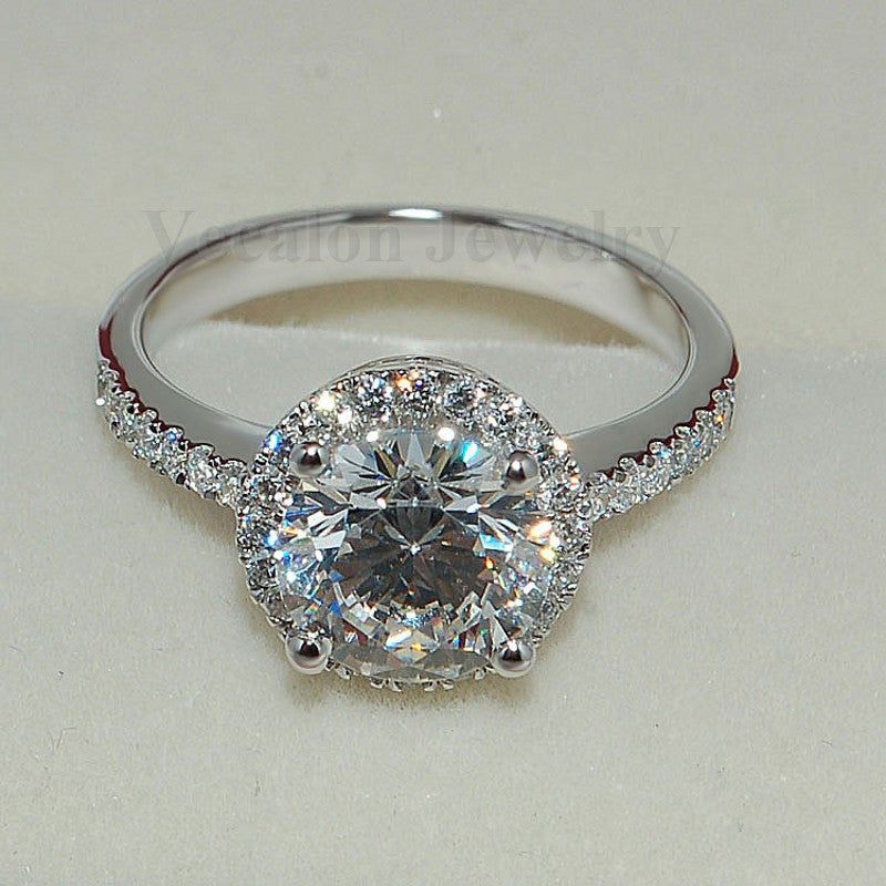 Genuine 2CT AAAAA Zircon Cz 925 Sterling Silver Engagement Ring