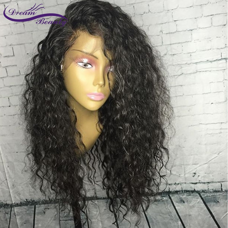 Lace Front Human Hair Curly Wigs Brazilian Remy Hair