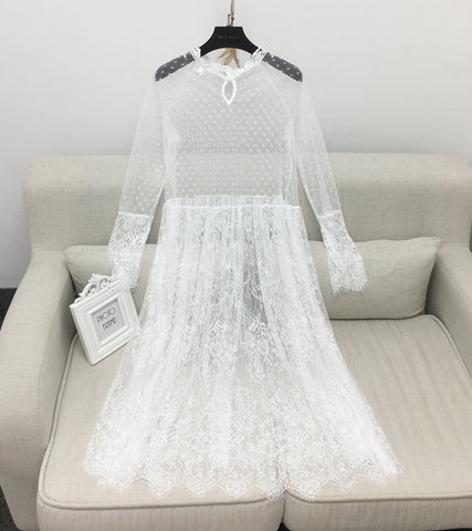 Korean Version Of The New Spring Long Ride Lace Dress