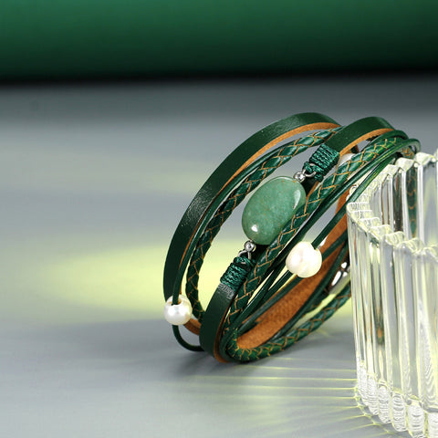 Image of Green Stone Vintage Multiple Layers Simulated Pearl Acrylic Cuff Bracelets