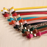 Luxury Brand Colorful Bow Leather Belt