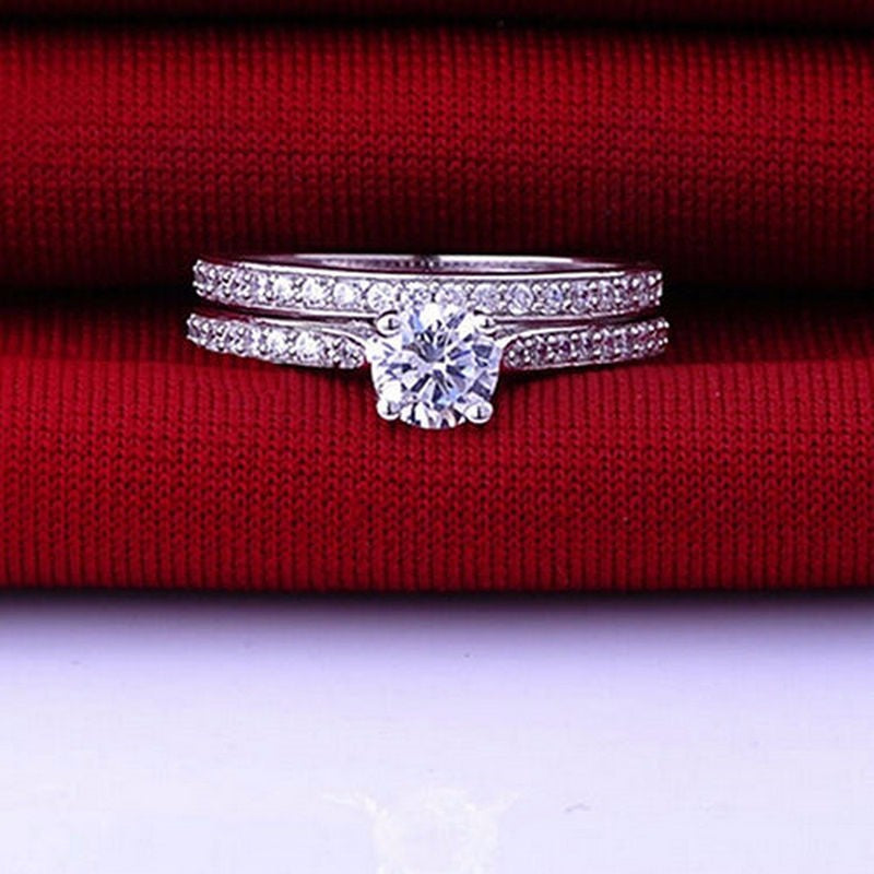 Charm Lovers Crystal Engagement Wedding Rings